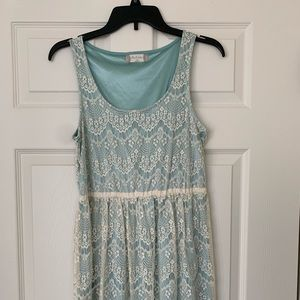 Altar'd State Mint Knee-Length Lace Dress